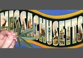 MassachusettsPostcardHandHoldingLeaf